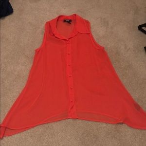 BCX Orange sleeveless button down